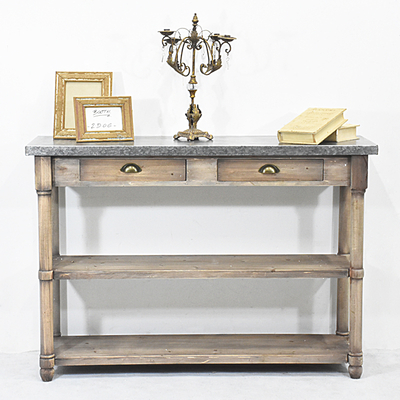 Vintage Industrail Rustic Wooden Console Table with Zinc Top