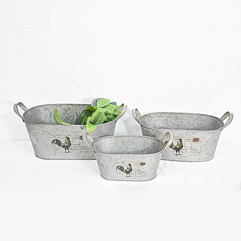 wholesale vintage rustic france decorative samll metal flower pot with handle