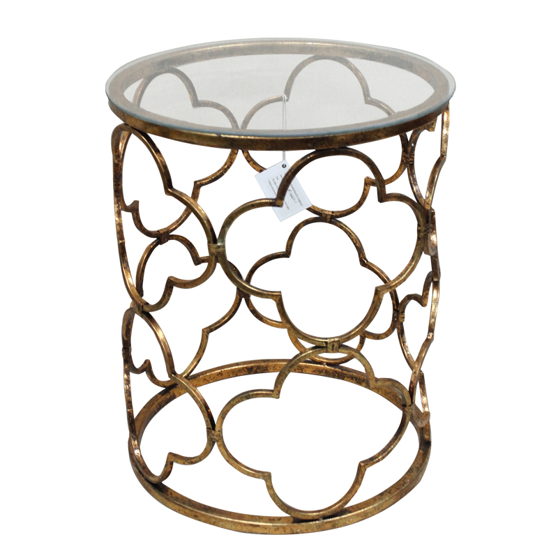 Shabby Chic Antique Gold Lattice Cut Out Metal Drum Table with Glass Top