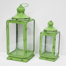 Antique Green Enamel Iron Hurricane Lantern
