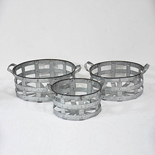 decorative hand made round metal zinc basket with handle