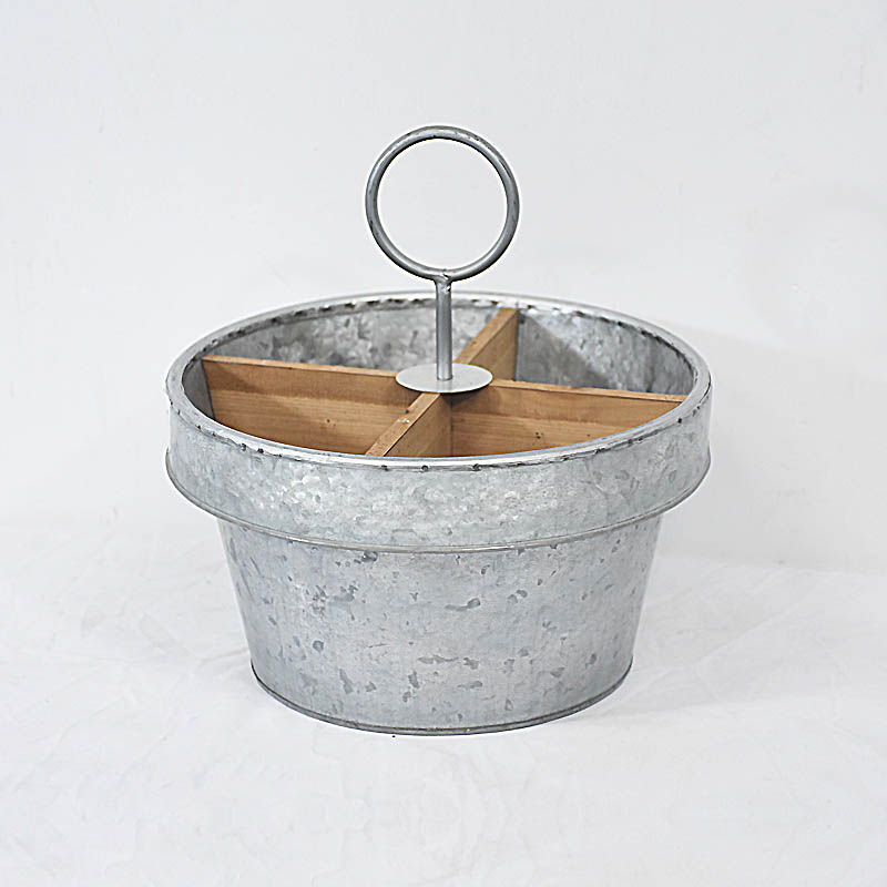 Vintage Rustic Style Industrial Galvanized Metal Caddy with Wood Divider