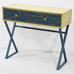 Geometry Metal Leg Design Vintage Classic Wooden Console Table