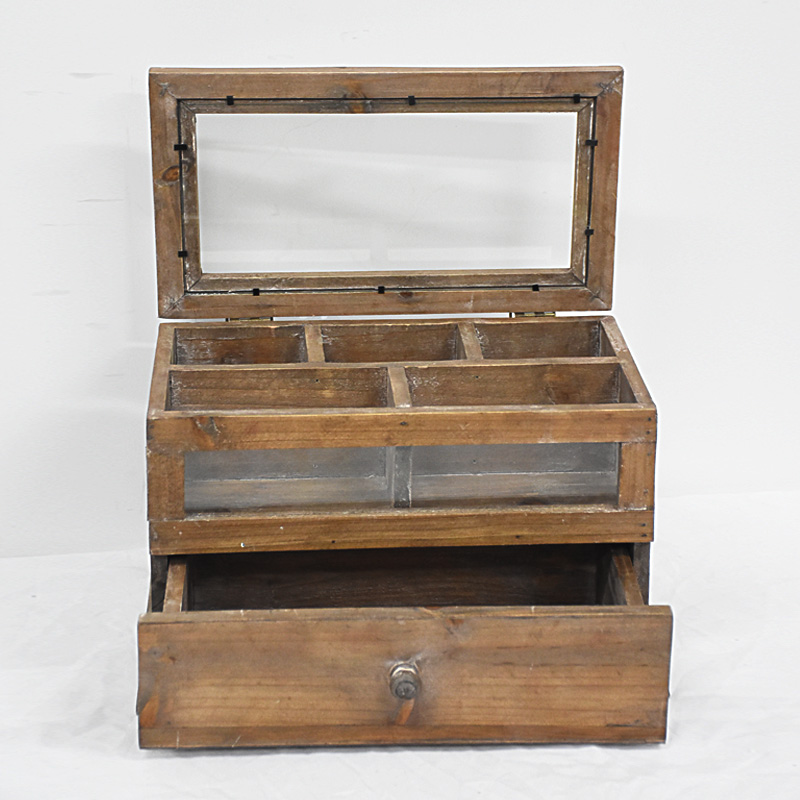 Vintage Rustic Wooden Jewelry Display Box with One Drwer