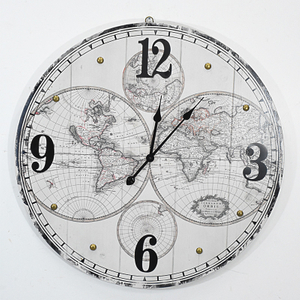 Beautifully Vintage Rustic Round Map Wall Metal Clock