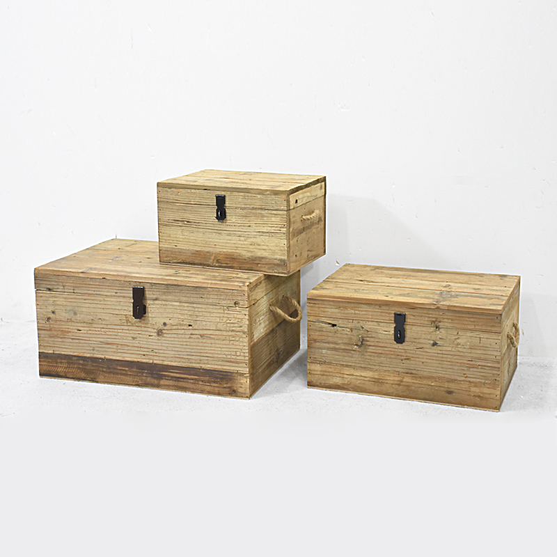 Natural set of 3 Nested wooden wooden Storage Trunks