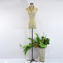 Shabby Chic Leaves Pattern Display Mannequin Dressform with Metal Tripod Base