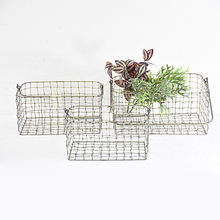 Wholesale Set of 3 Rustic Metal Wire Storage Basket with Handle