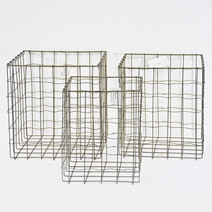 Vintage Industrial Decorative Rectangular Wire Organizer Baskets with Handles