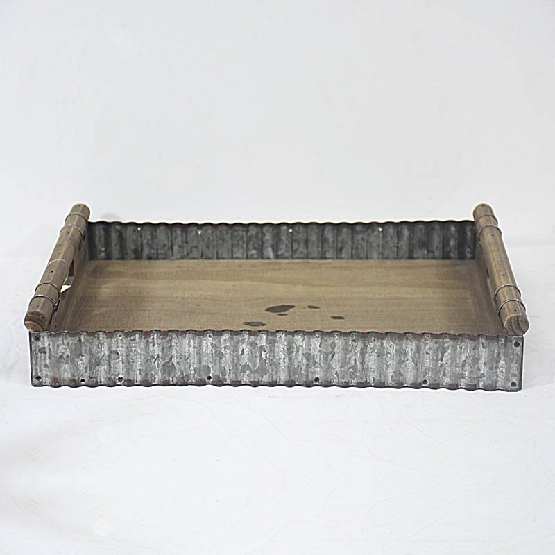 Old Distressed Recycled Wood Kitchen Tray with Corrugated Tin