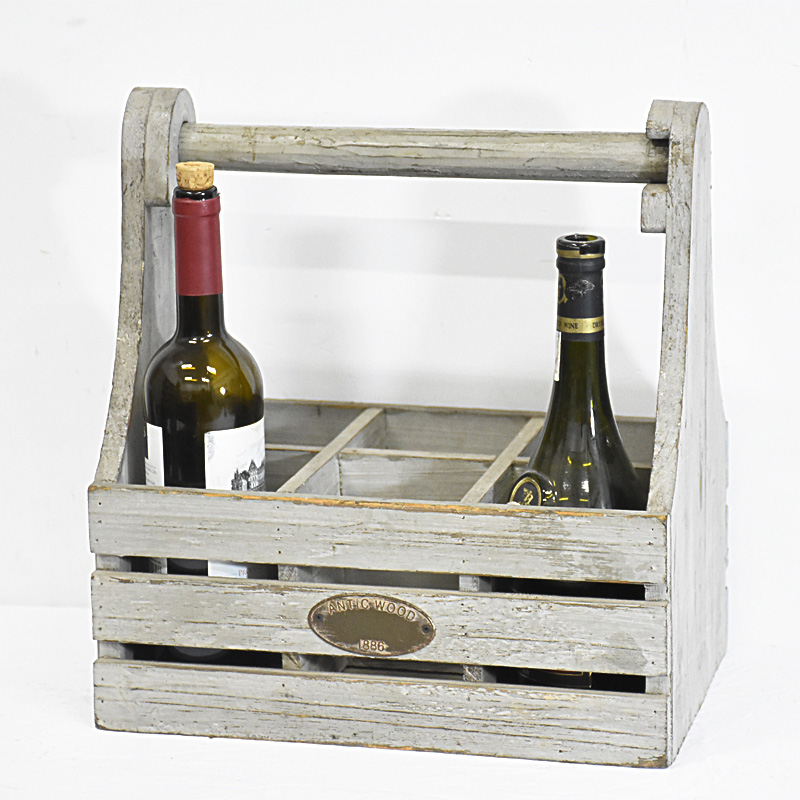 Shabby Chic Rustic Wooden Wine Carrier
