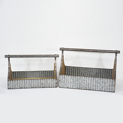 Vintage Chic Primitive Metal Tool Box Caddy Galvanized Metal Garden Plant Tote