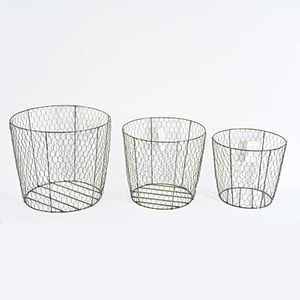 Set 3 Vintage Farmhouse Round Agebrook Home metal Wire Basket