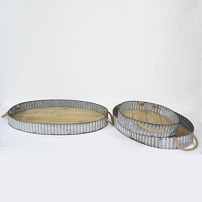 Vintage Rustic Round Zinc And Wood Serving Tray Set