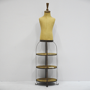 Vintage Rustic Body Form Mannequin with 3 Tired Wooden Shelf