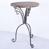 Vintage Industrial Metal And Wooden Round Bar Table
