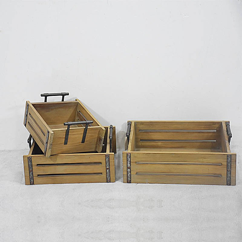 Rustic Distressed Storage Box Wooden Crates with Metal Handles