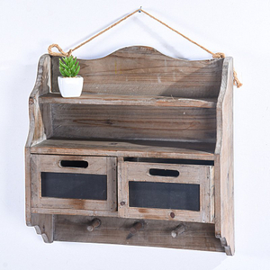 Rustic Farmhouse Vintage Wall Storage Cabinet with Two Drawers & 3 Hooks