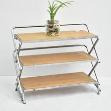 Antique Vintage Farmhouse Foldable Metal Wooden Shoe Rack