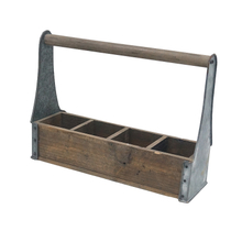 Farmhouse Style Four Compartments Wooden Tool Caddy with Zinc Side
