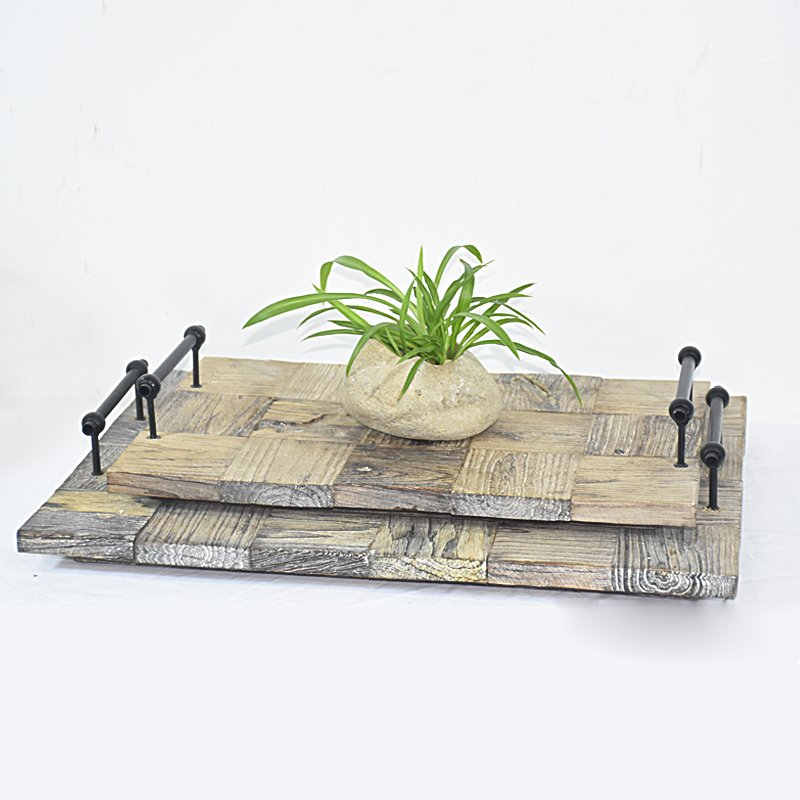 Wholesale S/2 Rustic Farmhouse Wooden Serving Tray