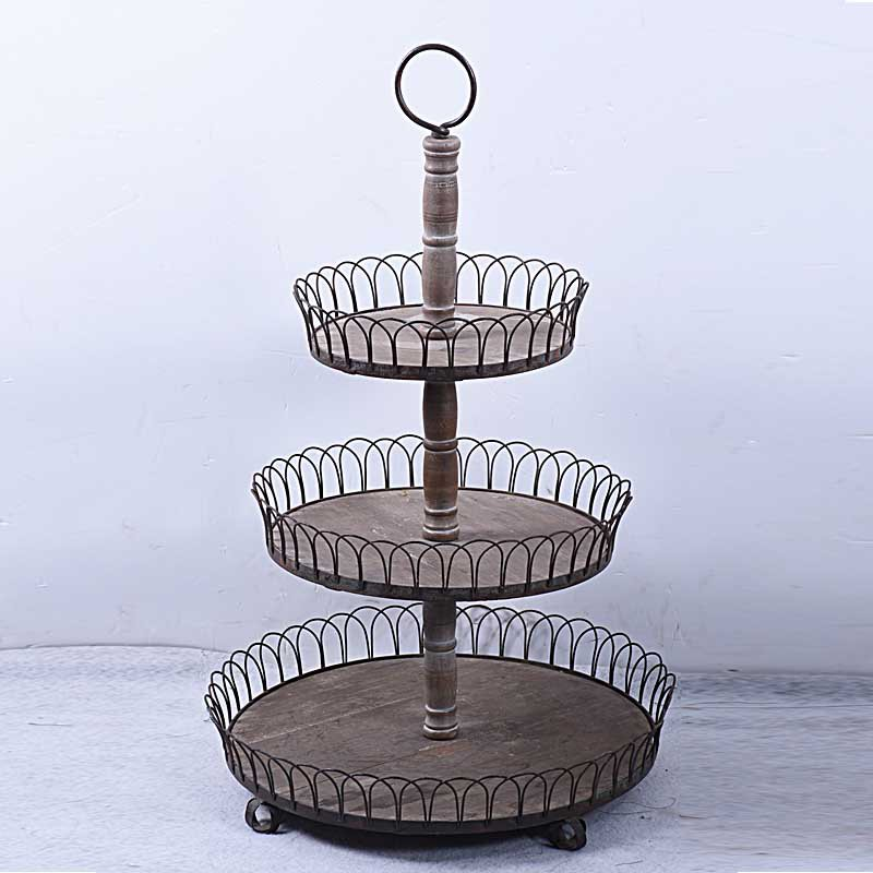 Rustic Framhouse Round Wooden 3-Tier Tray
