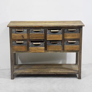 Vintage Industrial Furniture Fir Wood Table With Drawers And Open Shelf