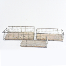 Vintage Farmhouse Rectangular Metal Wire Storage Tray