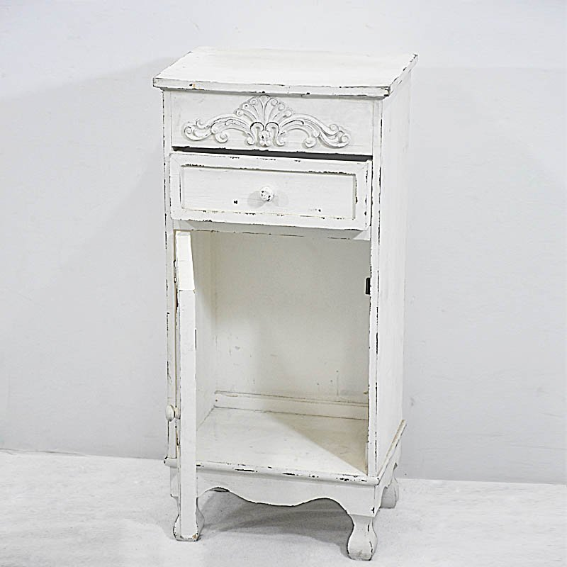 Shabby French Chic Distressed Rustic White Wood Nightstand