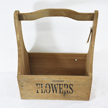 "Set 2 ""FLOWERS"" Nature Finish vintage Wood Storage Basket"