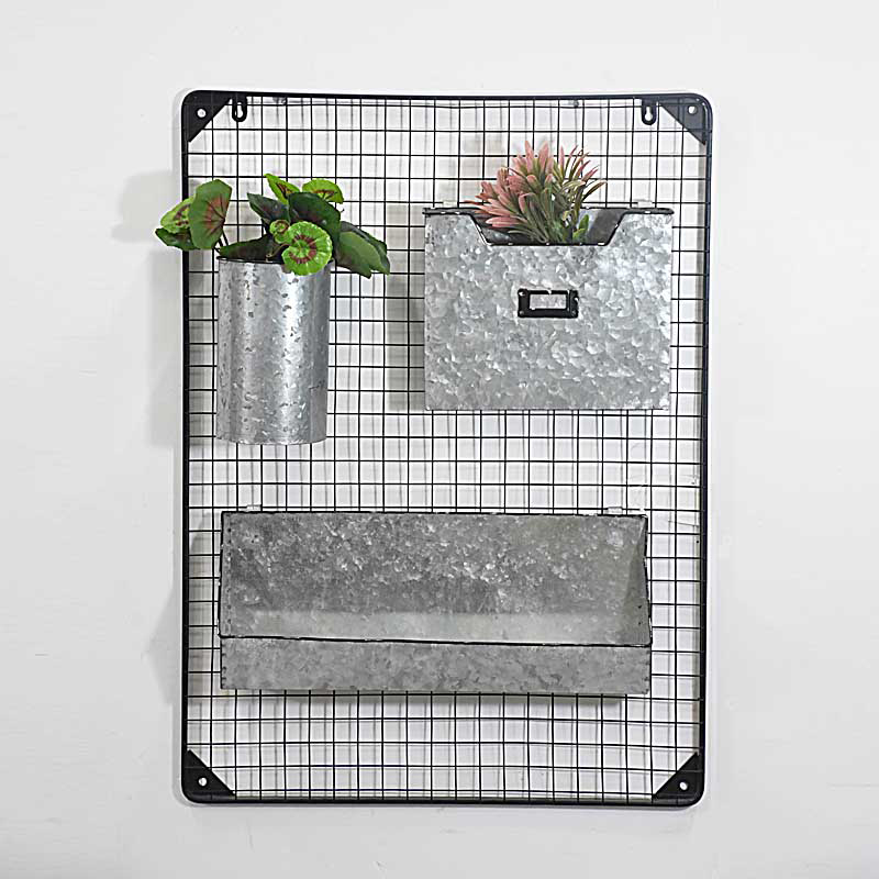 distressed Metal Organizer Wall Decor With 3 Compartments