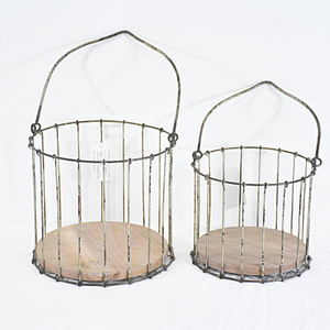 antique vintage Metal wire mesh storage round hanging basket with moved handle