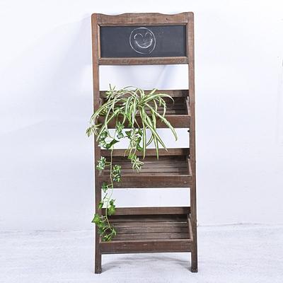 Vintage Rustic Folding Wood Flower Pot Shelf With