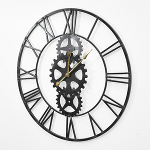 Roman Gear Decorative Wall Clock Bronze/Black