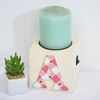 vintage handlecrafted white wooden candle holder with led decor