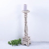 Shabby Chic Rustic White Wooden Candlestick for Home Deocr