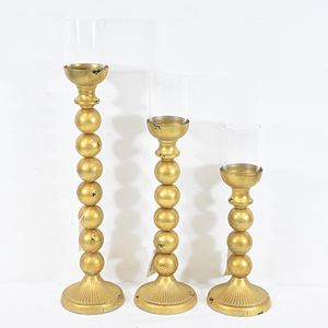Shabby Chic French Antique Gold Brass Candle Sticks holder