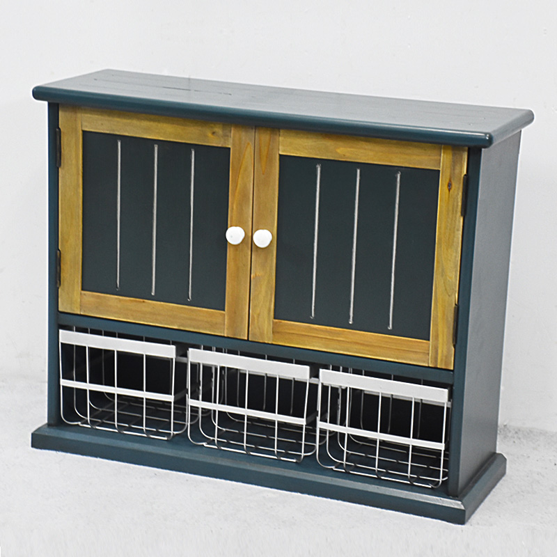 Antique Dark Blue Wooden Wall Sotrage cabinet with 3 Metal Basket