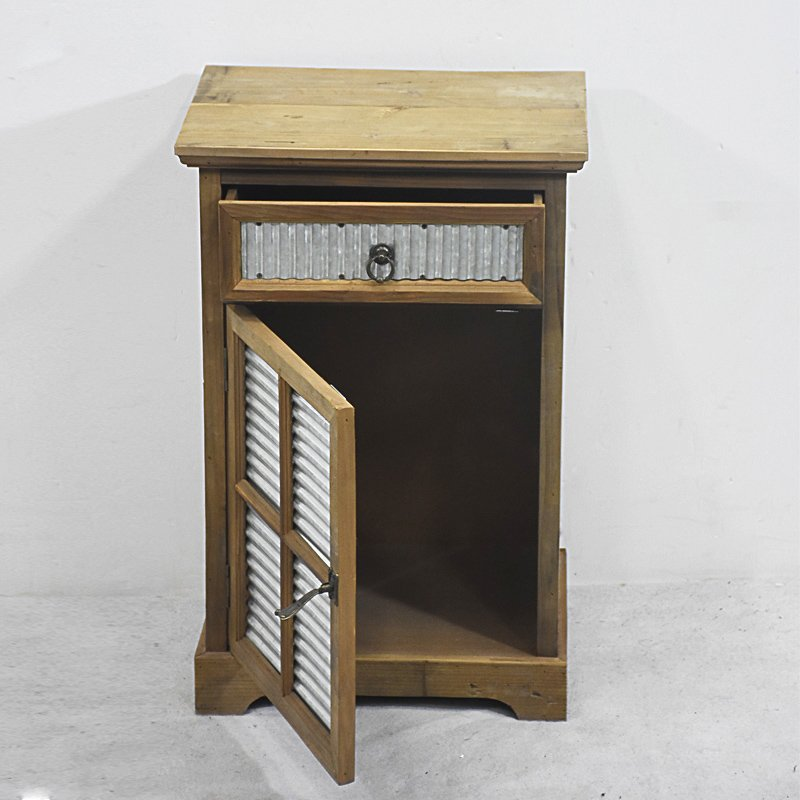New Arrival Small Vintage Rustic Farmhouse Wooden Nightstand Cabinet with Galvanized Sheet