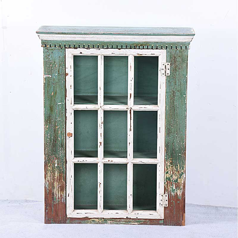 Small Shabby Chic Green Reclaimed Wood Bathroom Wall Storage Cabinet