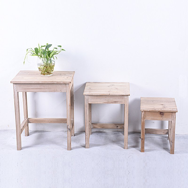 Handcrafted Distressed Rustic Wooden Nesting Table Set