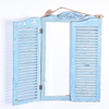 Shabby Chic French Country Distressed Blue Wood Mirror with Shutter