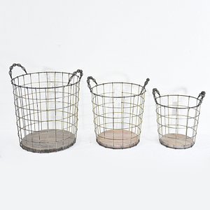 Stackable Bulk Recycled Decorative Round Rustic metal Wire Basket