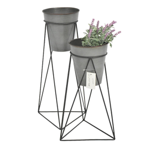 Unique geometry creative metal flower pot rack stand with plant pot