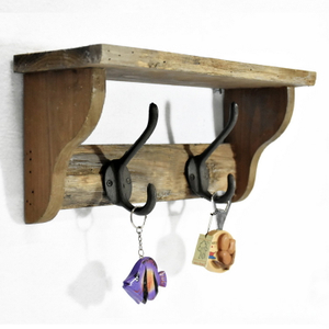 Luckywind Wooden Wall Shelf Design, Rustic Wooden Towel Wall Shelf With Hooks