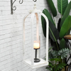 Luckywind Large Tall Farmhouse Style Home Decor White Wash Wood Candle Lantern With Removable Glass Cylinder Hurricane