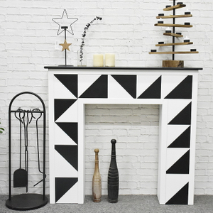 Luckywind Black White Decorative Wood Fireplace Mantel Cabinets and Shelf Units, Modern MDF Free Standing Fire place