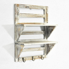Luckywind 2-Tier Rustic Whitewash Torched Wood Wall Floating Farmhouse Entry Shelf Rack with 3 Key HOOKS