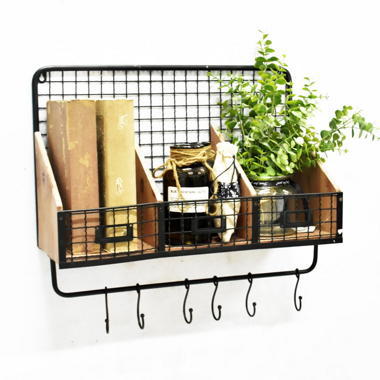 Luckywind Rustic Antique Decorative Wire Back Floating Wooden Wall Mounted Display Metal Coat Rack Wall Shelf with Hooks